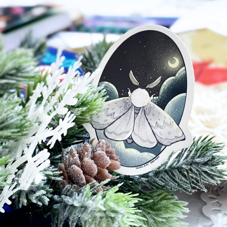 OwlCrate Jr. December 2020 moth sticker