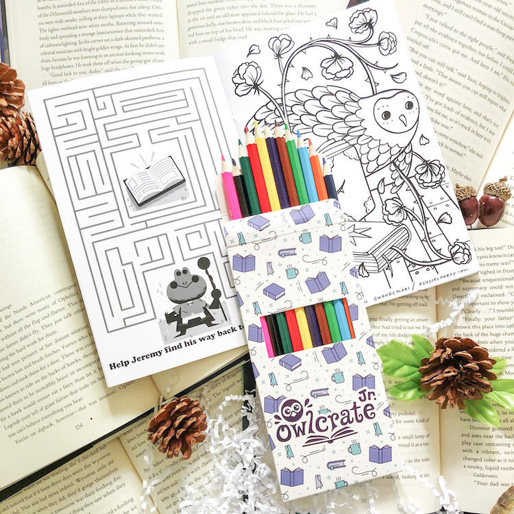 OwlCrate Jr. July 2020 pencil crayons